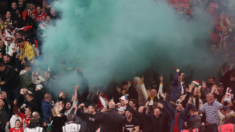 Away fans let off flares when they took the lead
