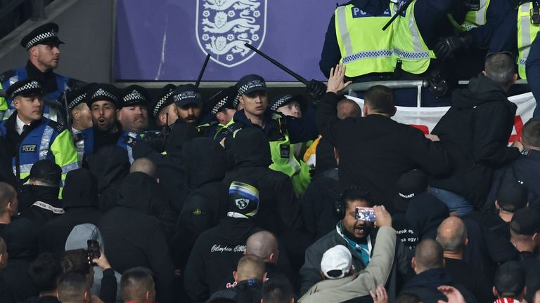 Hungary fans clash with police at Wembley