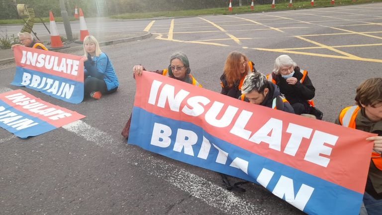 Protesters block junction 13. Pic: Insulate Britain