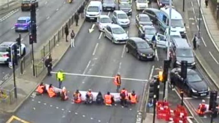 Picture taken from twitter Caption reads#A40 blocked w/bnd at Gypsy Corner due protest ps #roads