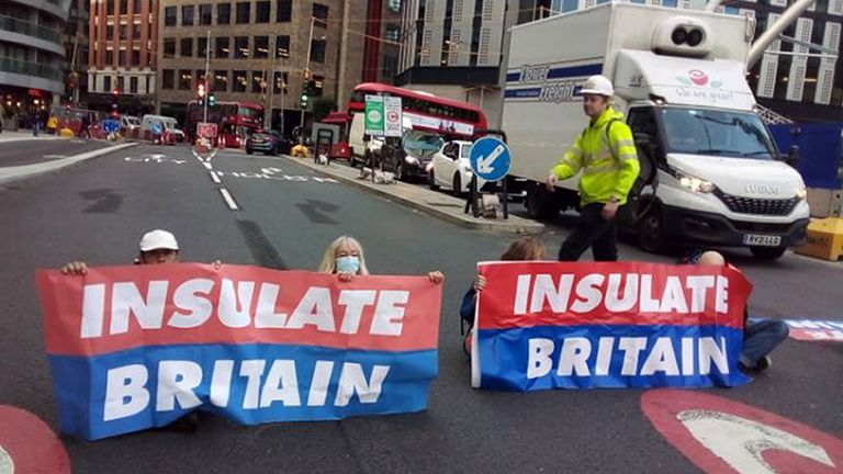 Handout photo issued by Insulate Britain of protesters from Insulate Britain blocking Old Street roundabout in central London. Picture date: Friday October 8, 2021.