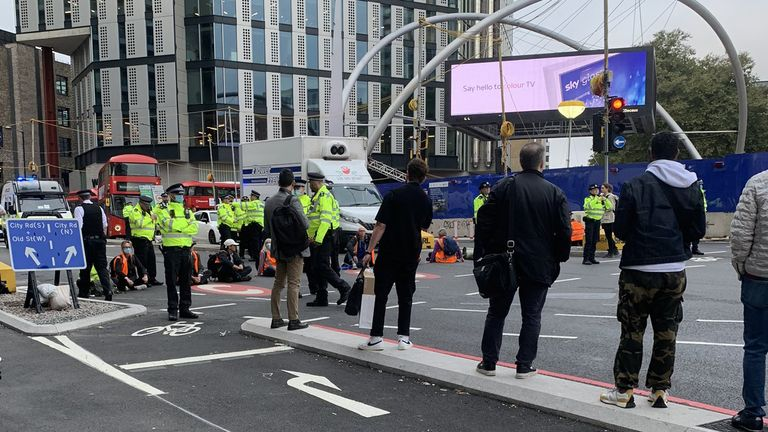 Picture taken with permission from the twitter of @EmbobEast showing protesters from Insulate Britain blocking Old Street roundabout in central London. Picture date: Friday October 8, 2021.