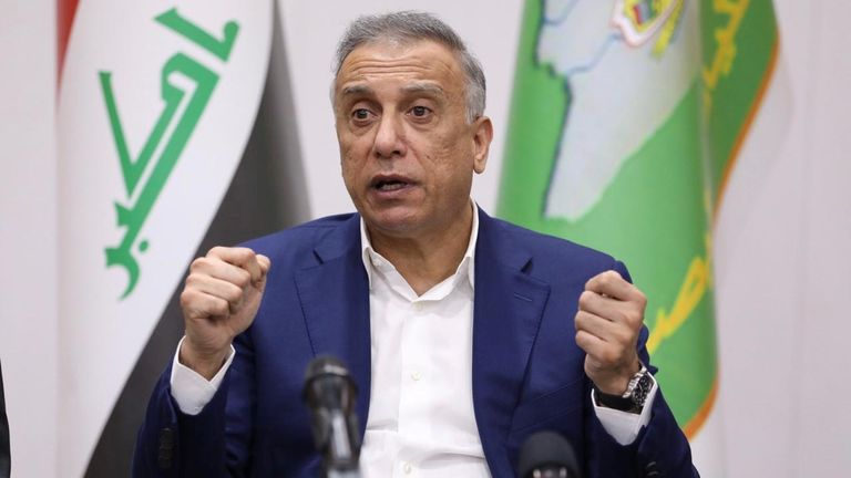 iraqi Prime Minister Mustafa al-Kadhimi speaks during a meeting with security leaders, in Basra, Iraq August 22, 2020. Picture taken August 22, 2020. Iraqi Prime Minister Media Office/Handout via REUTERS ATTENTION EDITORS - THIS IMAGE WAS PROVIDED BY A THIRD PARTY
