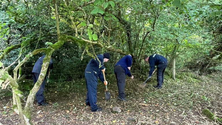 Gardai search a wooded area of Brewel East, on the Kildare/Wicklow border for the remains of Deirdre Jacob who disappeared over 20 years ago. PIcture sent in by Stephen Murphy