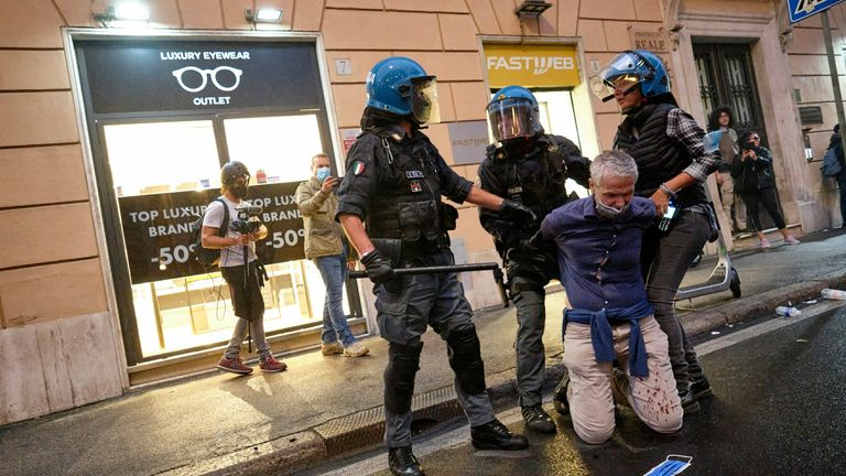 Last weekend, protests took place in Italian cities against the introduction of green passports.  Picture AP