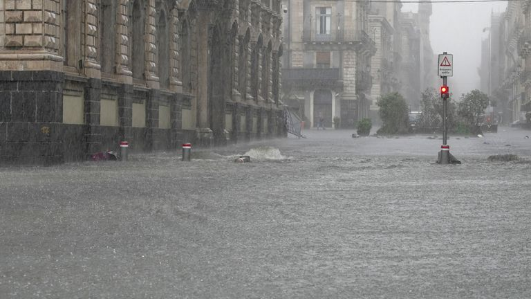 Streets are flooded during heavy rainfall in Catania, on the island of Sicily