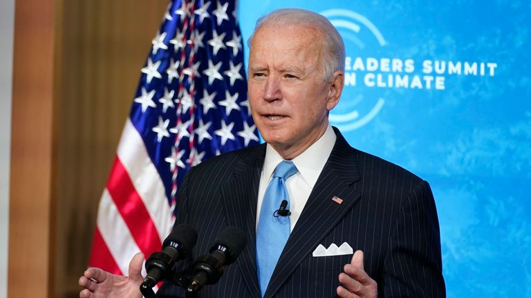 President Joe Biden speaks to the virtual Leaders Summit on Climate, from the East Room of the White House, Friday, April 23, 2021, in Washington. (AP Photo/Evan Vucci) ..