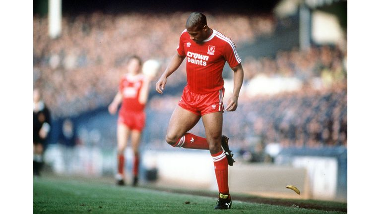 Football, 21st February 1988, FA Cup Fith Round, Goodison Park, Everton 0 v Liverpool 1, Liverpool's John Barnes backheels a banana that was thrown onto the pitch by a racist section of the crowd  (Photo by Bob Thomas Sports Photography via Getty Images)