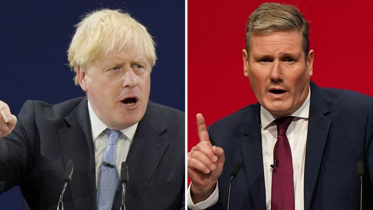 Boris Johnson and Sir Keir Starmer speaking at their respective party conferences