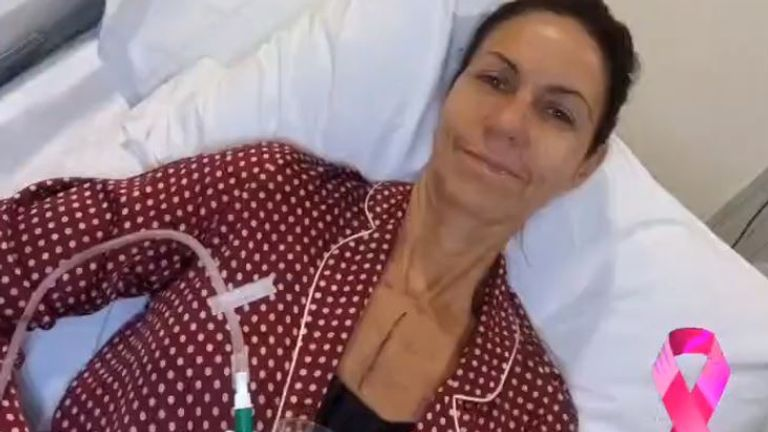 Bradbury posted the picture after her operation. Pic: Twitter/ JuliaBradbury