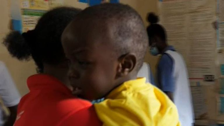 Malaria vaccine is administered at clinic in Kenya