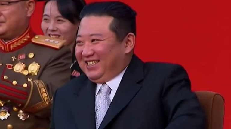 Kim Jong Un watches a display of extreme martial arts and endurance