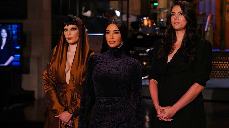 In a picture to promote the show are (from left): musical guest Halsey, host Kim Kardashian West, and SNL cast member Cecily Strong. Pic: NBC via AP