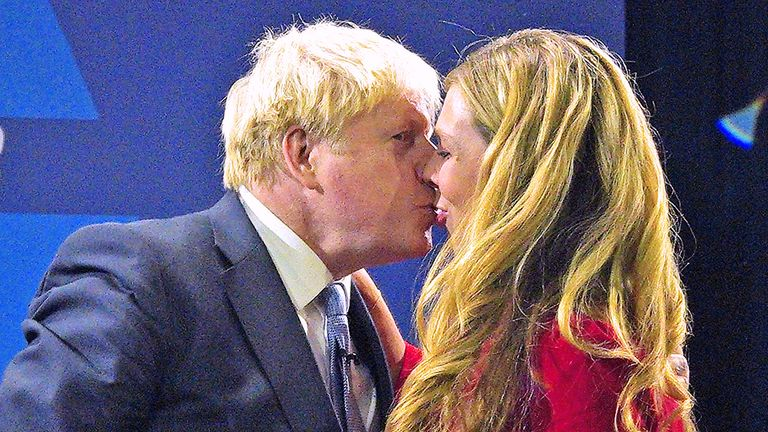 Prime Minister Boris Johnson is joined by his wife Carrie on stage after delivering his keynote speech at the Conservative Party Conference in Manchester. Picture date: Wednesday October 6, 2021.