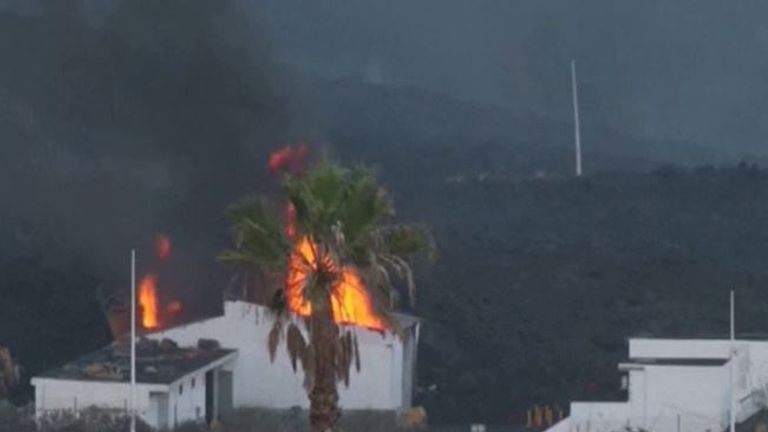 Factory building is destroyed by lava on La Palma