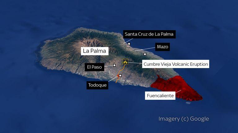 A map of the Cumbre Vieja Volcano eruption on La Palma