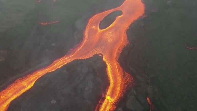 Lava spews from La Palma volcano