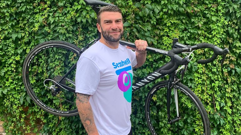 Drew Mitchell, who is hoping to beat the record for the fastest man carrying a bike in the London marathon this weekend