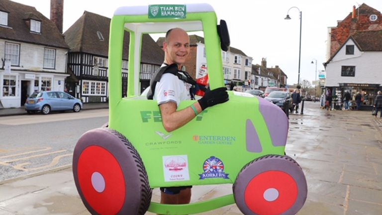Phil Sweatman is hoping to win the Guinness World Record as fastest male dressed as a heavy duty vehicle