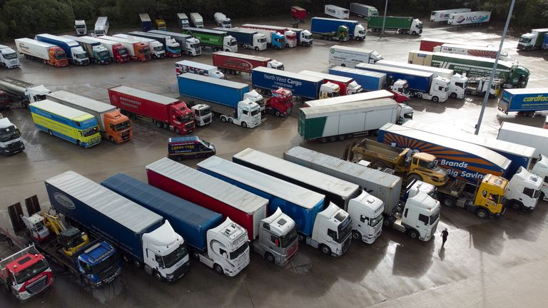 Lorries at Lymm Services in Warrington