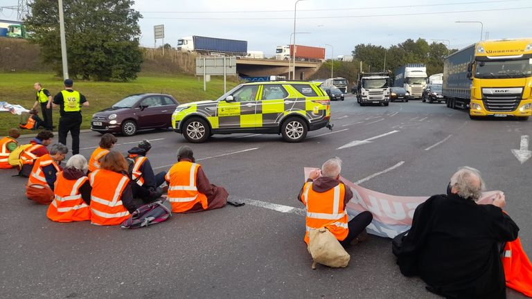 Protesters blocking the road on Wednesday morning. Pic: Insulate Britain
