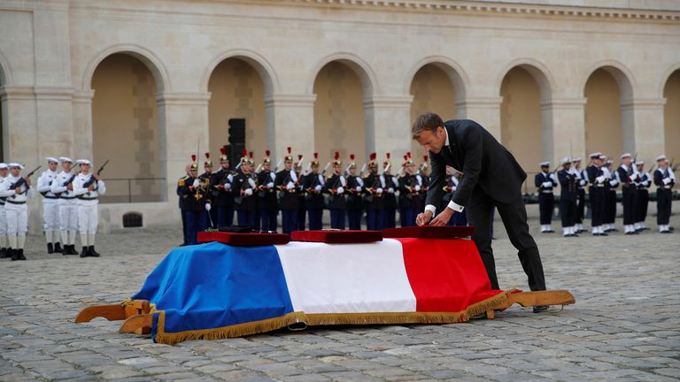 French President Emmanuel Macron on 29 September honours a French soldier killed in action in Mali. Pic: AP