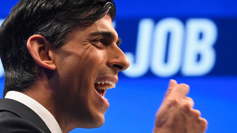 Britain's Chancellor of the Exchequer Rishi Sunak delivers a speech during the annual Conservative Party Conference, in Manchester, Britain, October 4, 2021. REUTERS/Toby Melville