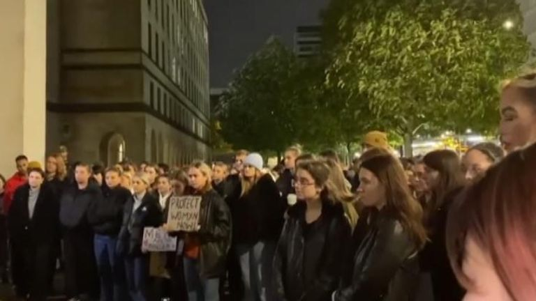 Women's names read out at protest in Manchester following reports of spiking amid girls' night in protests