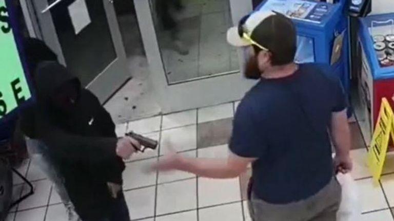 Marine veteran disarms man with gun in petrol station
