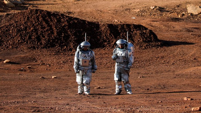 Scientists participate in a demonstration of an experiment led by Austrian and Israeli agencies simulating a mission to Mars near Mitzpe Ramon, Israel October 10, 2021. REUTERS/Amir Cohen
