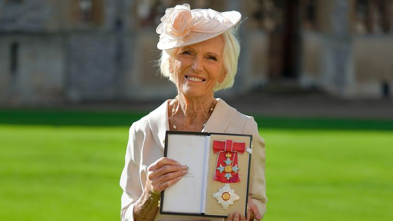 Mary Berry after being made a Dame Commander by the Prince of Wales for a lifetime of cooking, writing and baking during an investiture ceremony at Windsor Castle. Picture date: Wednesday October 20, 2021.