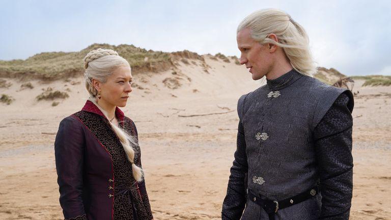 Emma D'Arcy as Princess Rhaenyra Targaryen and Matt Smith as Prince Daemon Targaryen. Pic: HBO