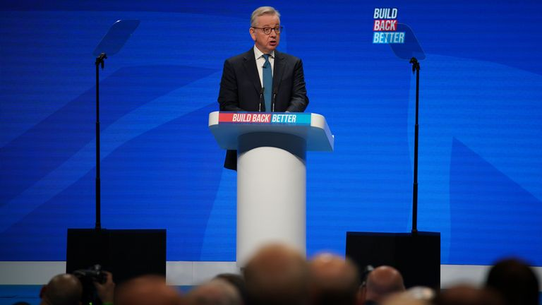 Levelling up Secretary Michael Gove gives a speech at Conservative Party Conference in Manchester