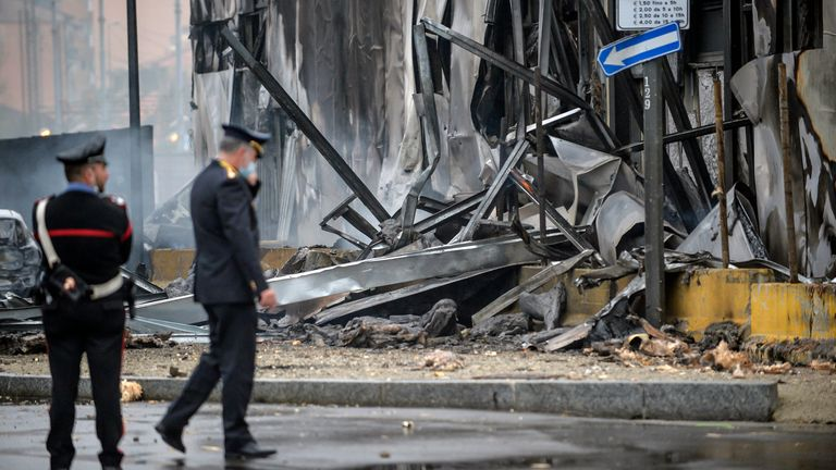 The plane crashed into a vacant office building. Pic: AP