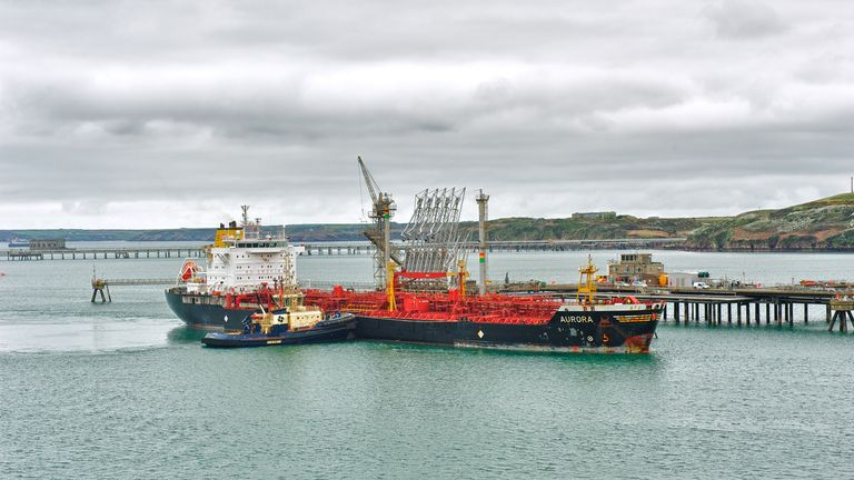 A vessel loading in Milford Haven port