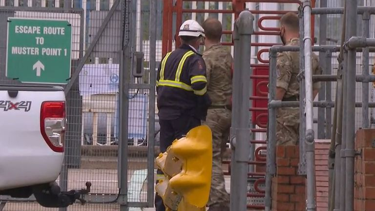 Military personnel seen at Buncefield