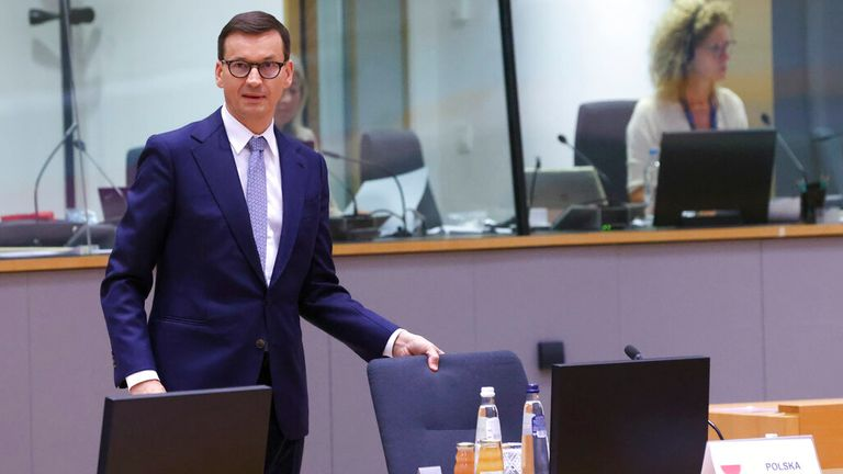 Morawiecki at a round table meeting at an EU summit in Brussels