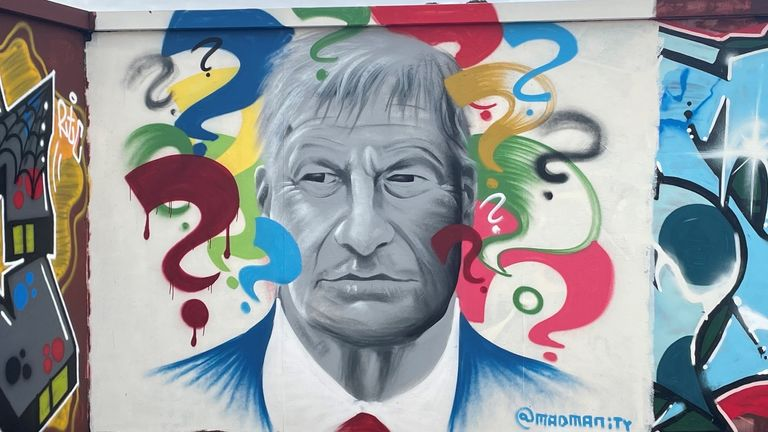 A mural of Sir David Amess has appeared at a skatepark he opened 13 years ago. - The art is the work of local artist Madmanity in  Leigh-on-Sea, Essex Image taken by Aisha Zahid