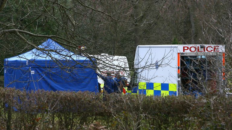 Police forensic officers in Haywards Heath Cemetery in Sussex