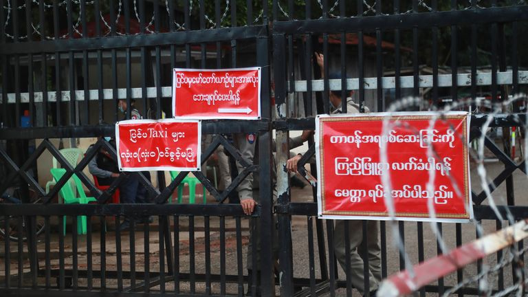 Pic: AP The outside of Insein prison in Yangon