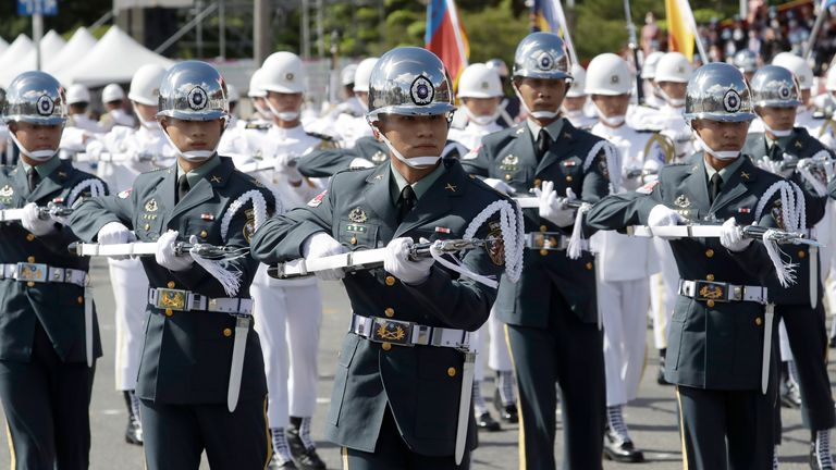 The military honour guard during National Day celebrations