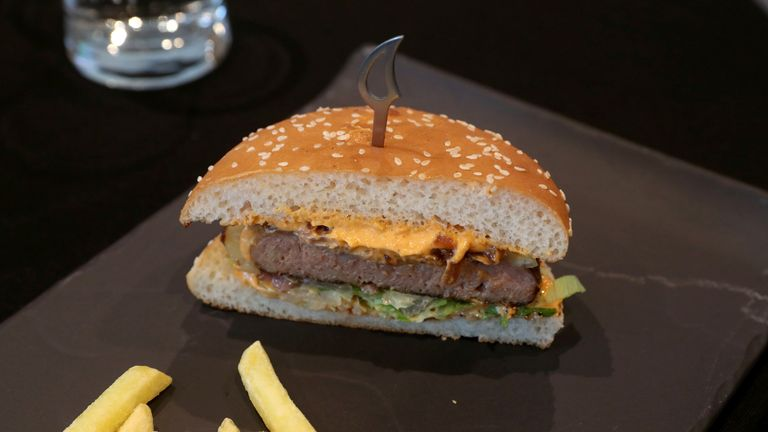 FILE PHOTO: A plant-based burger is seen during the launch of Nestle R&D Accelerator in Konolfingen, Switzerland September 28, 2020. REUTERS/Arnd Wiegmann/File Photo