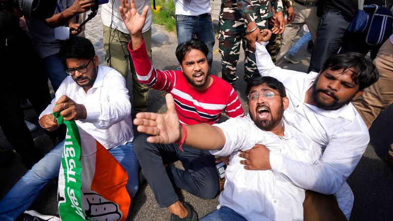 The protests in New Delhi come amid continuing opposition to new agriculture laws. Pic: AP