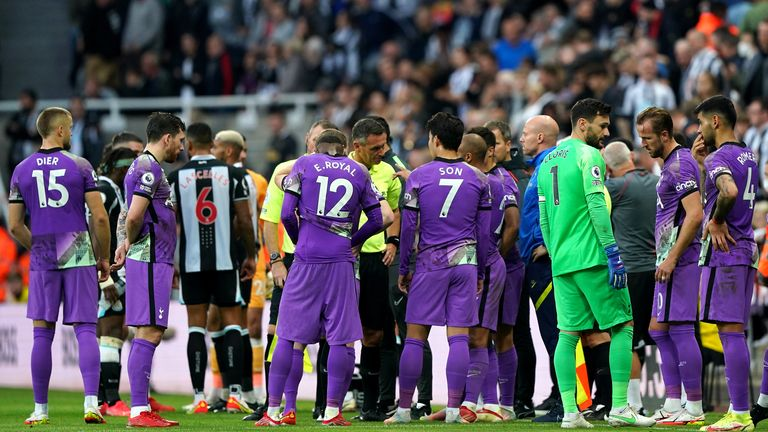 Players halted the game during the incident in the stands in Newcastle