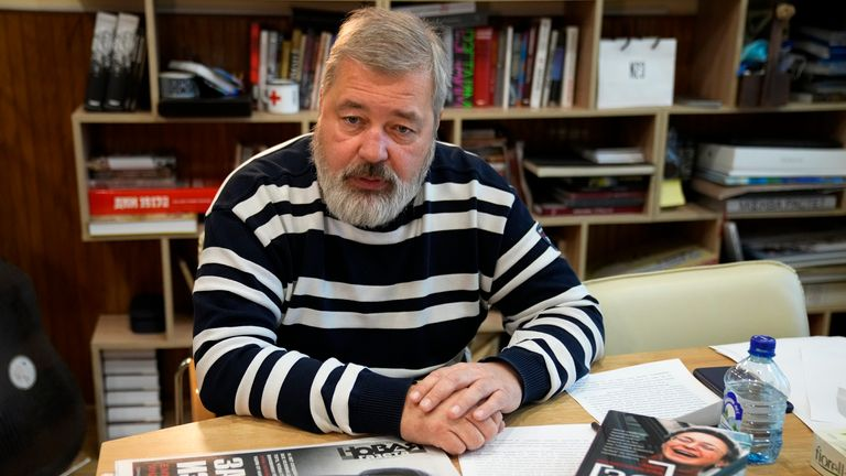 Novaya Gazeta editor Dmitry Muratov speaks during an interview with The Associated Press at the Novaya Gazeta newspaper, in Moscow, Russia, Thursday, Oct. 7, 2021. Colleagues of investigative reporter Anna Politkovskaya are sharply criticizing the Russian authorities for failing to track down the mastermind of her killing 15 years ago. PIC:AP