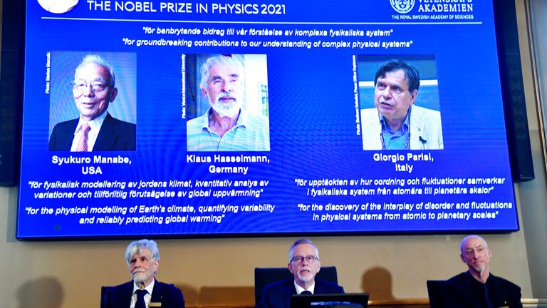 The 2021 Nobel Prize in Physics were announced at the Royal Swedish Academy of Sciences on Tuesday in Stockholm