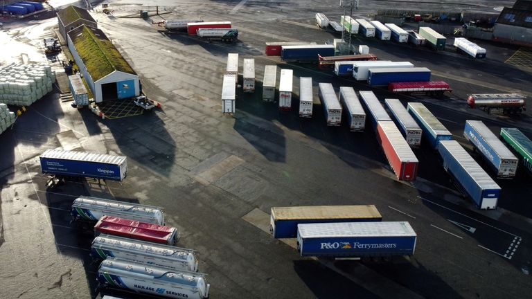 Lorry trailers are seen in the port of Larne, Larne Northern Ireland, December 30, 2020. Picture taken with a drone December 30, 2020. REUTERS/Phil Noble