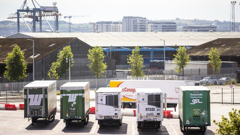 Northern Ireland Department of Agriculture, Environment and Rural Affairs (DAERA) site on Drumcrue Street in Belfast, which is one of the sites used when lorries roll off the ferries that is used to perform checks. Picture date: Monday June 28 2021.