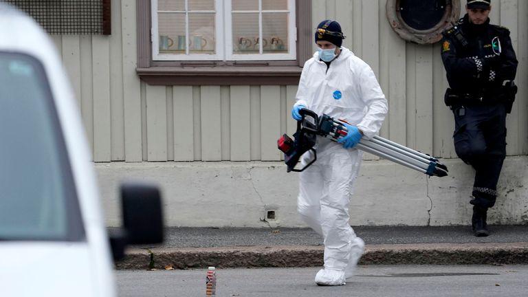 Police continue work in Kongsberg. Pic: AP