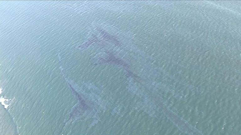 Oil spill in the Californian coast